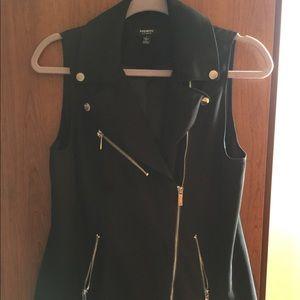 Sophisticated Black Vest w/ Collar & Silver Detail